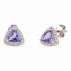 Orecchini a righe di tanzanite trangle