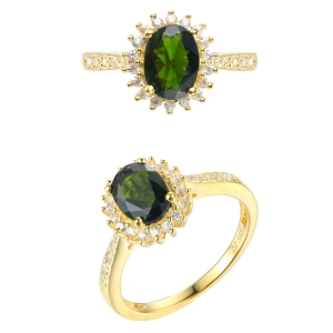 Chrome Diopside Silver Ring