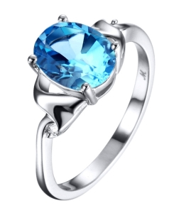 Rhodium Plated Silver Lady Ring